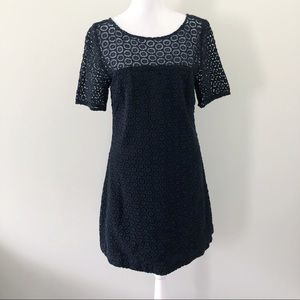 Lilly Pulitzer White Label Solid Black Eyelet A Line Dress Size 4